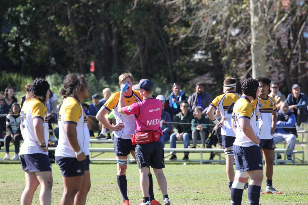 Ben helps out with a blood nose Brumbies